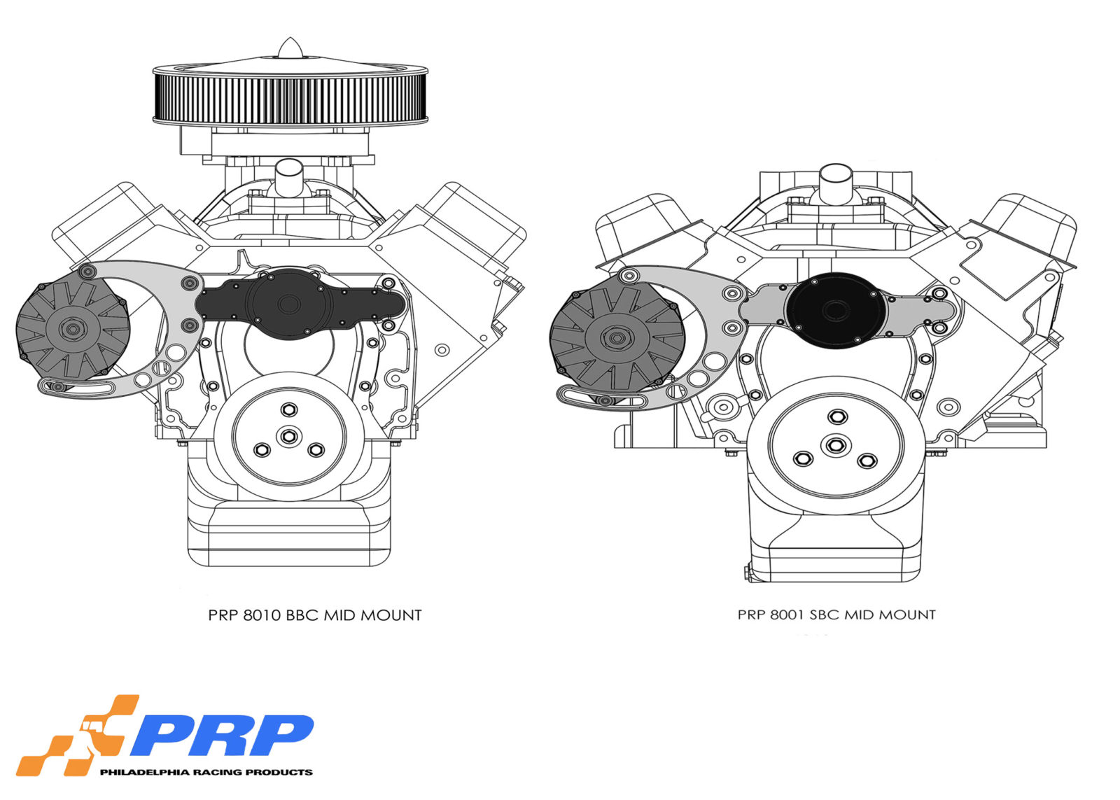 Schematics for Alternator Mounting Bracket for Chevy made by PRP Racing Products