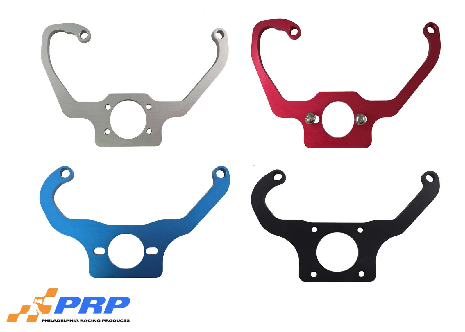 Clear Red Blue and Black Fuel Pressure Regulator Mounting Brackets made by PRP Racing Products