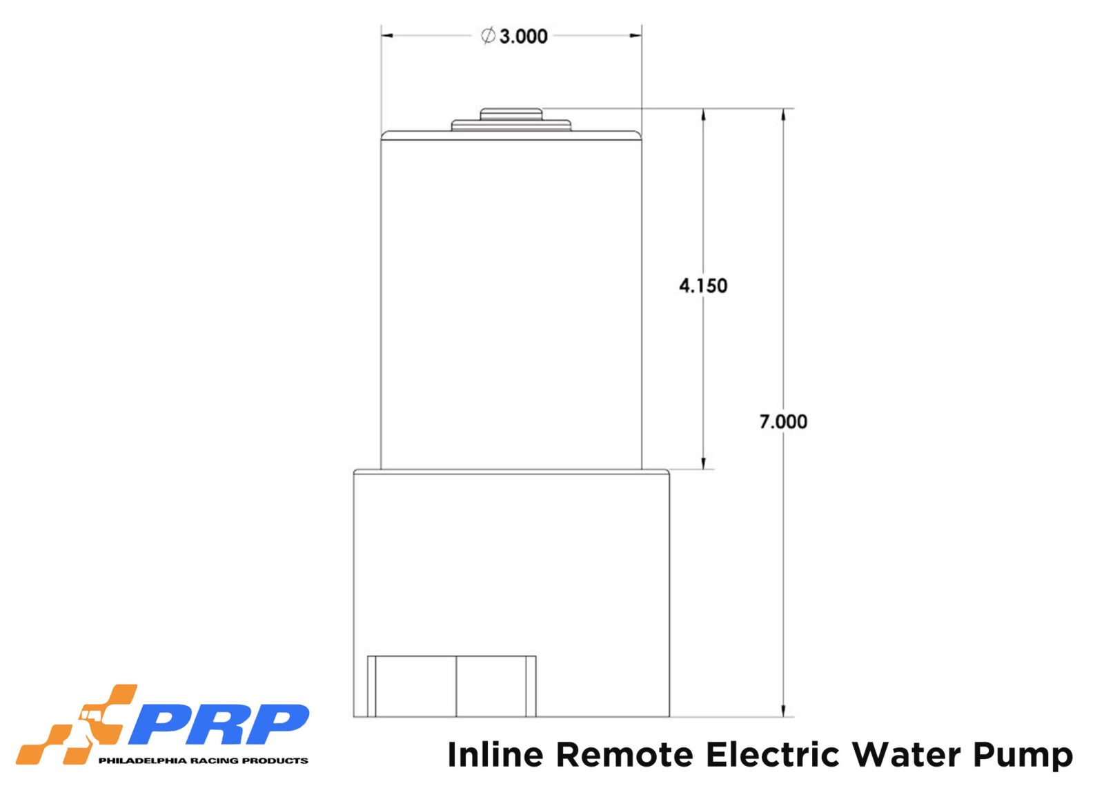 Inline Remote Electric Water Pump Sizing graphic made by PRP Racing Products