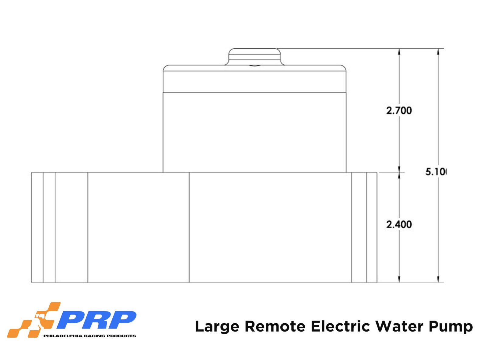 Large Remote Electric Water Pump Sizing graphic made by PRP Racing Products