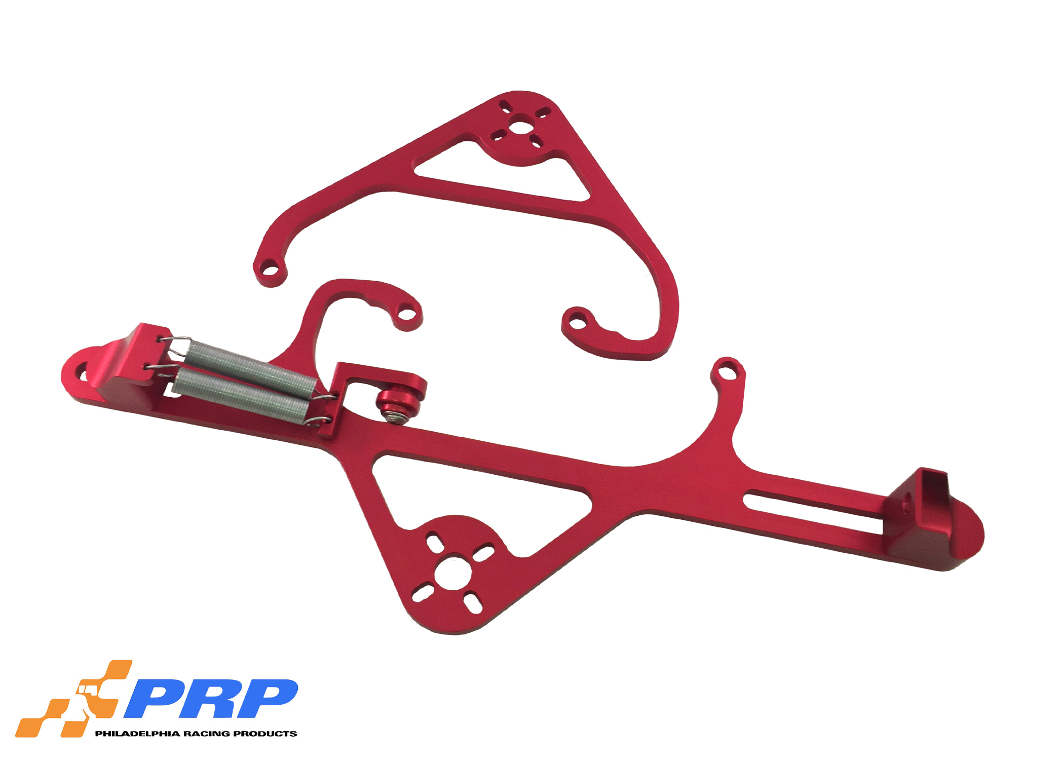 Red 4150 Nitrous Valve Mounting Brackets with Throttle Bracket made by PRP Racing Products