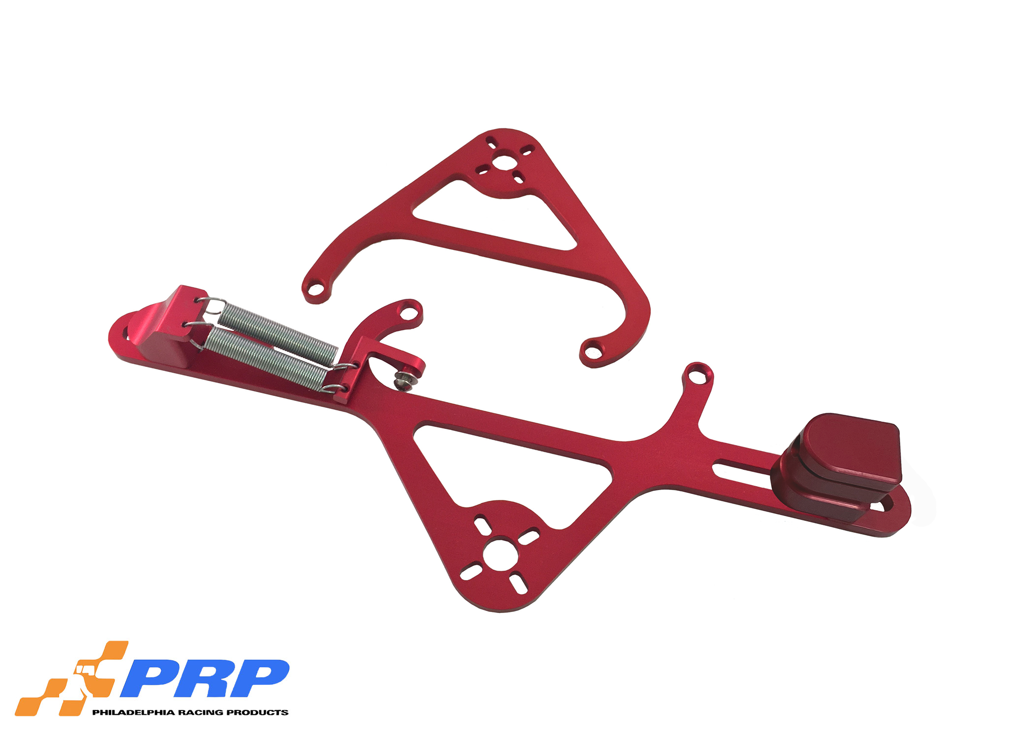 Red 4500 Nitrous Valve Mounting Brackets with Throttle Bracket made by PRP Racing Products