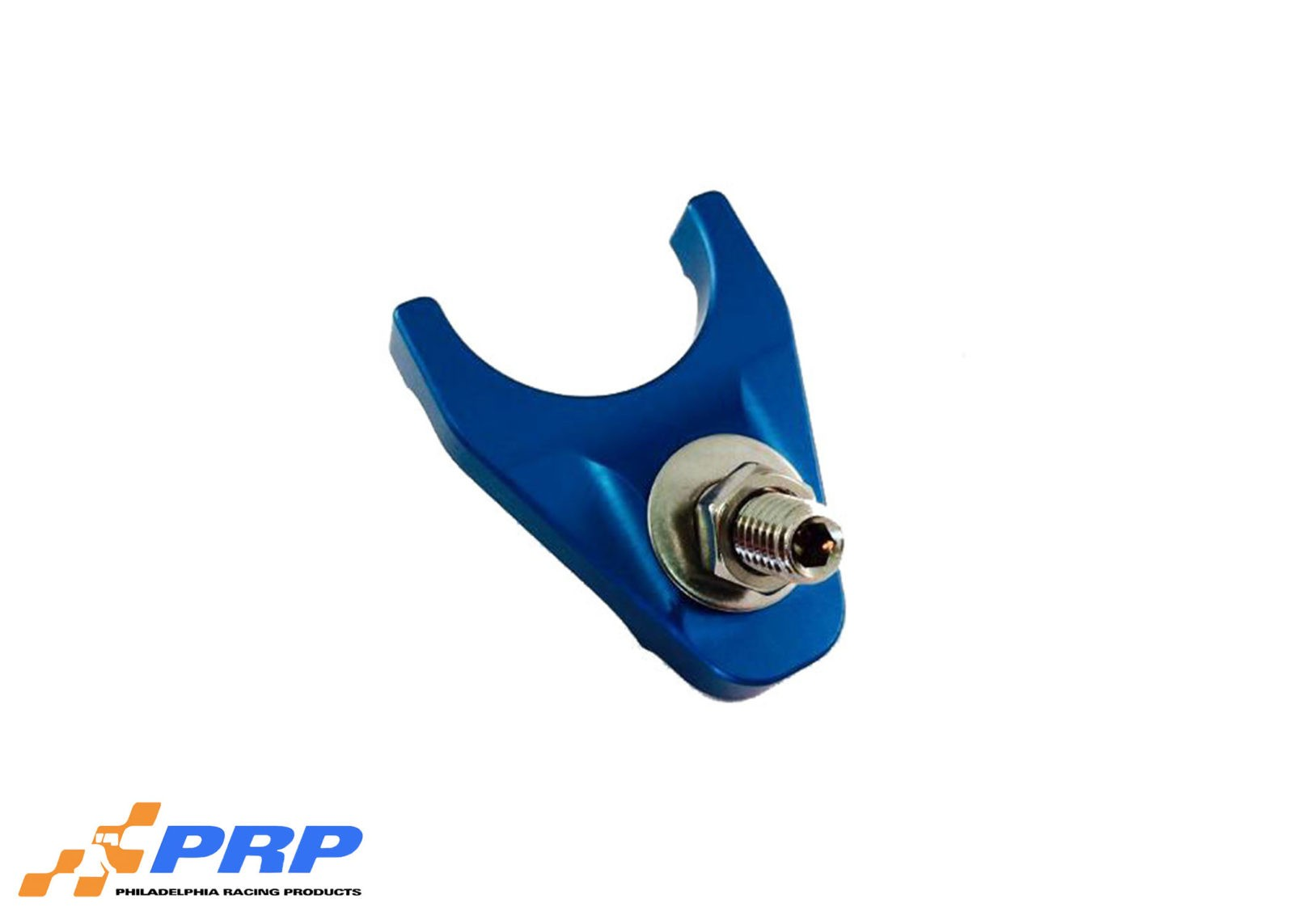 Blue anodized distributor Hold Down made by PRP Racing Products