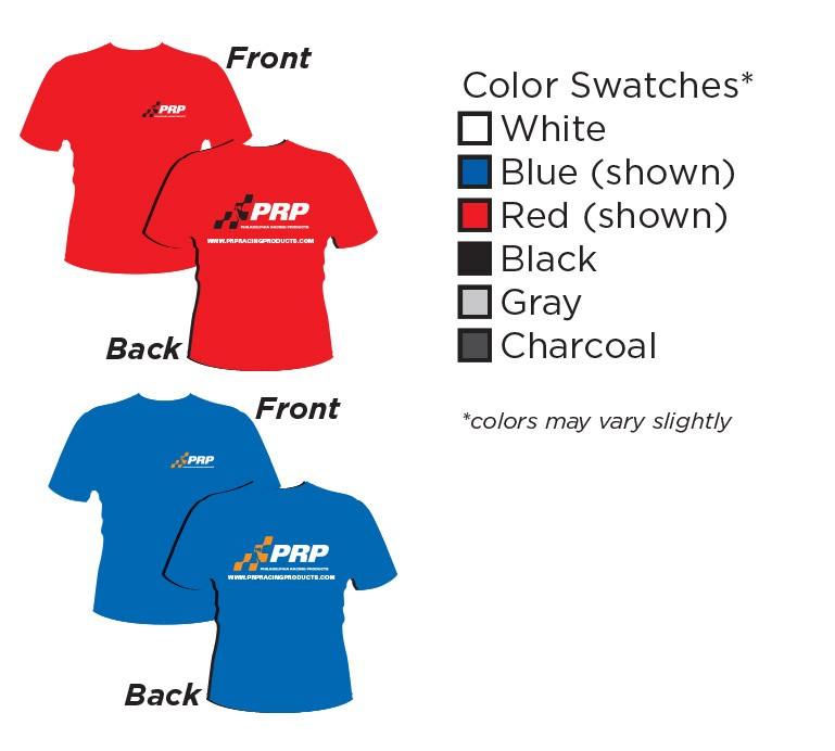 Apparel Infographic with front and back displays. Available in White Blue Red Black Gray and Charcoal made by PRP Racing Products