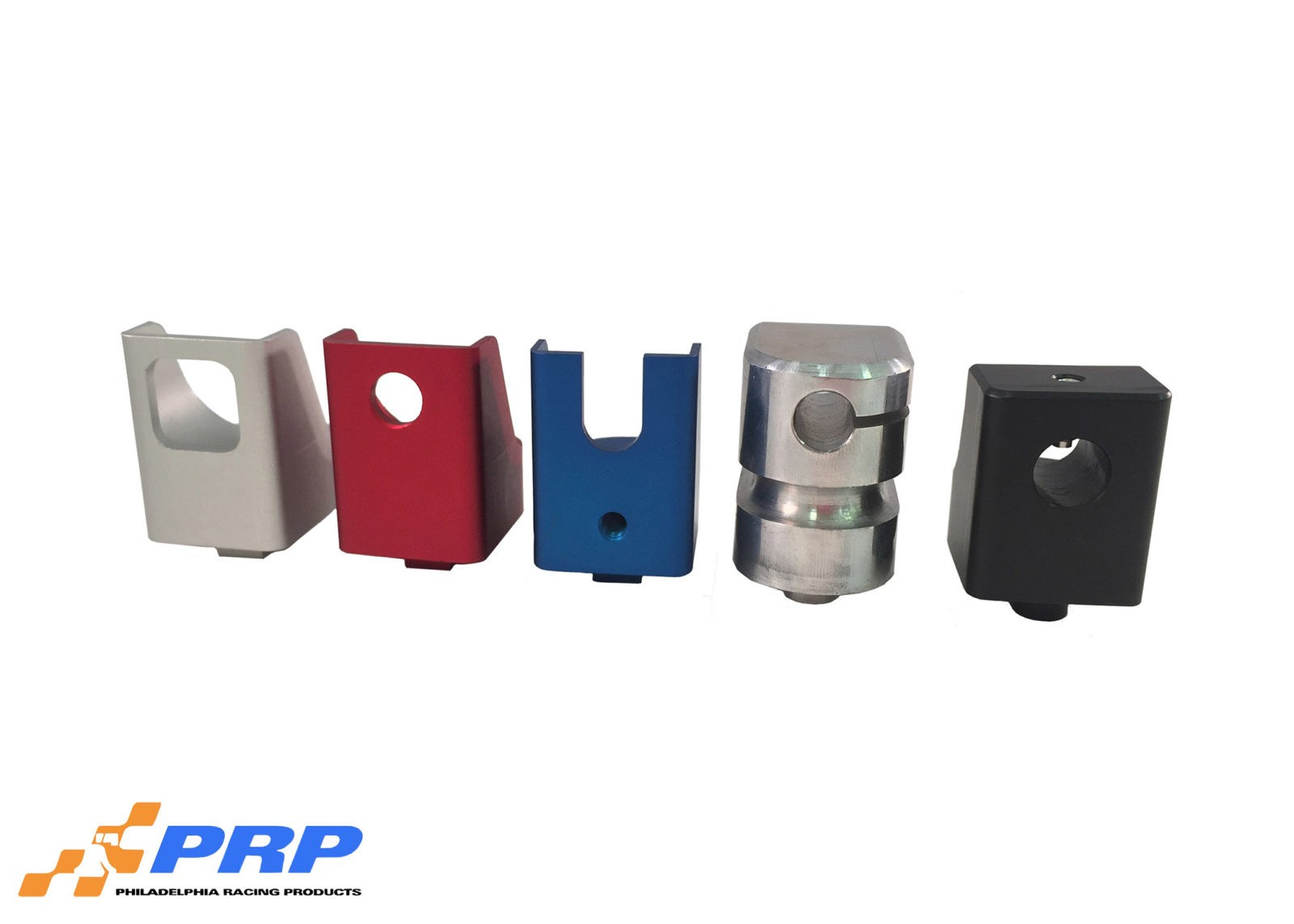 Clear Red Blue Polished and Black Throttle Bracket Replacement Cable Ends made by PRP Racing Products