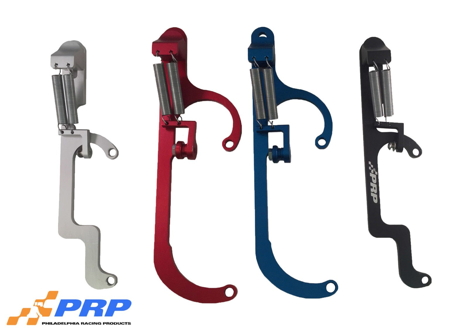Red, Clear, Blue and Black Billet Throttle Return Brackets made by PRP Racing Products