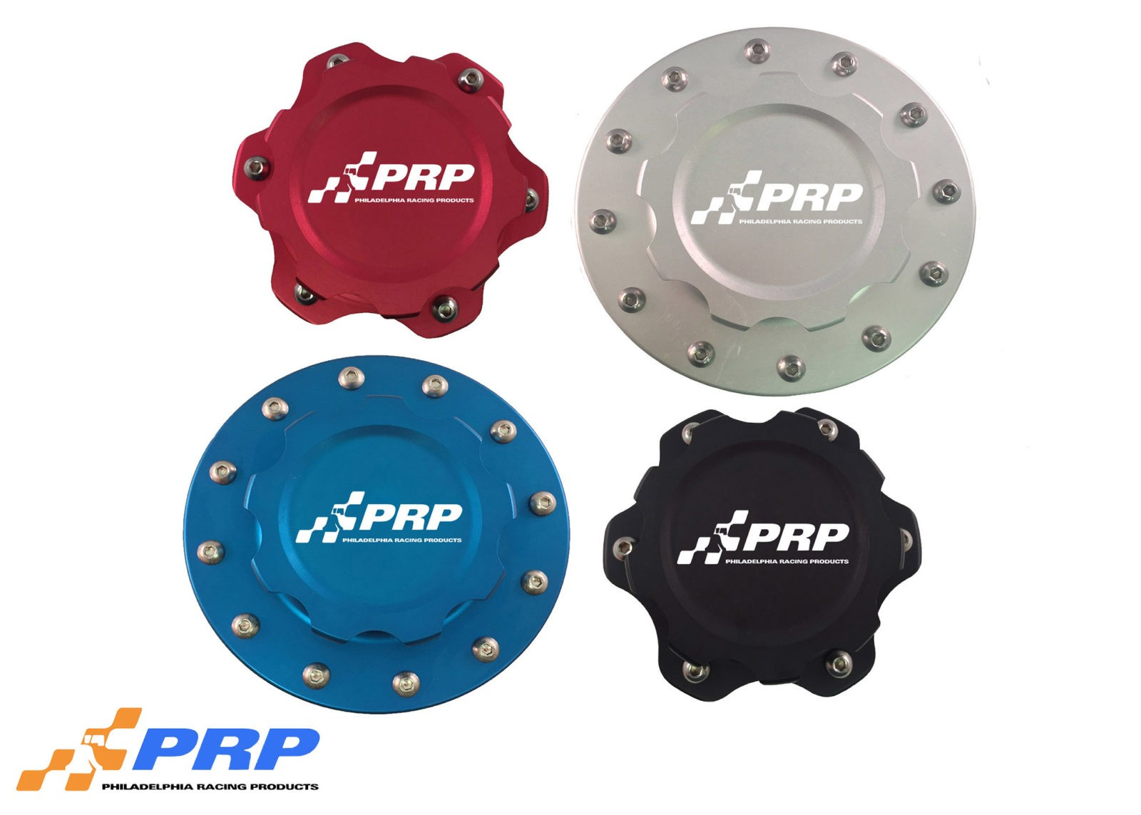 PRP Racing Products Billet Fuel Cell Caps Colored in Red Blue Black and Silver