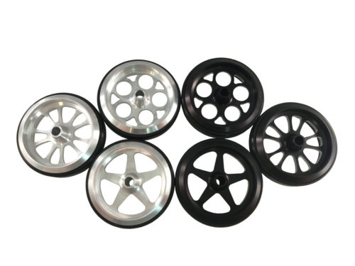 All Silver and Black Billet Wheelie Bar Wheels made by PRP Racing Products
