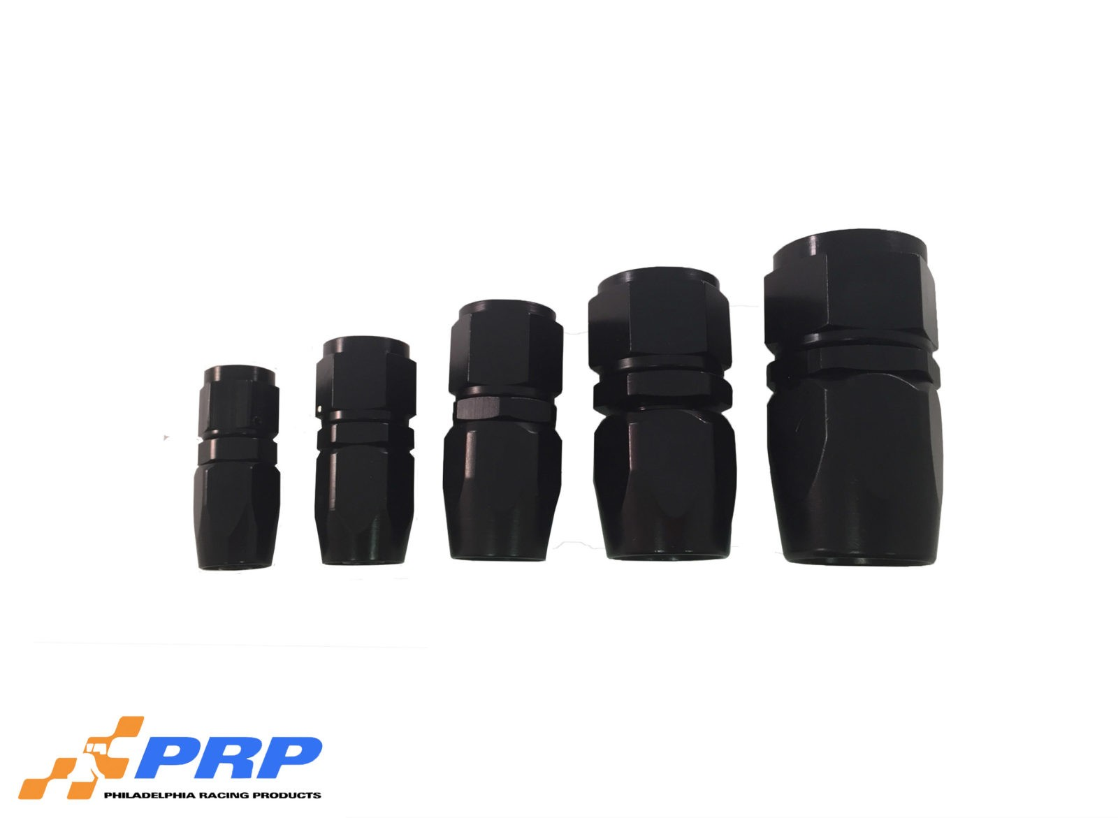 Black Straight Swivel Hose Ends made by PRP Racing Products