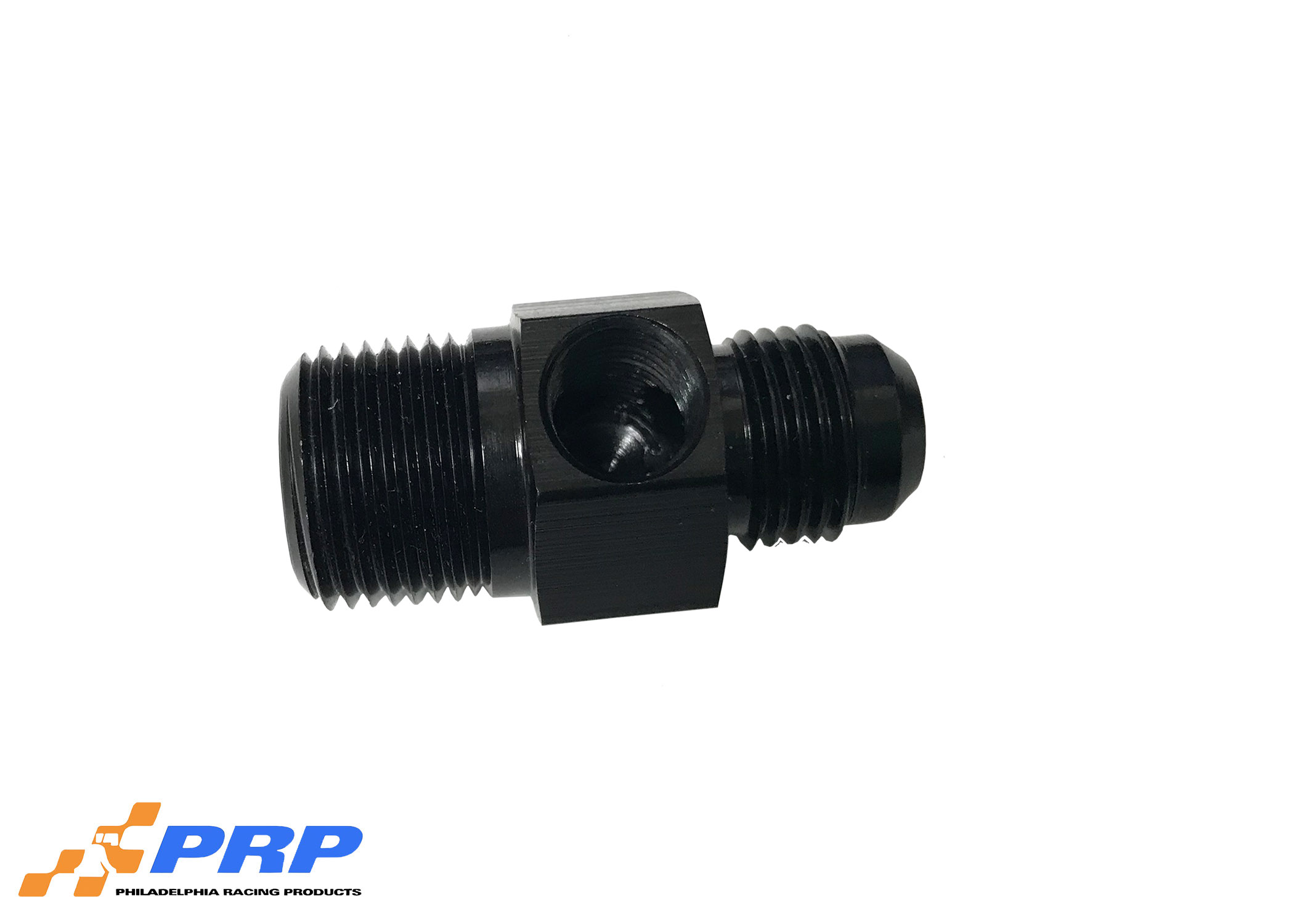 "Black Flare to Pipe Adapter With 1/8"" Port AN"